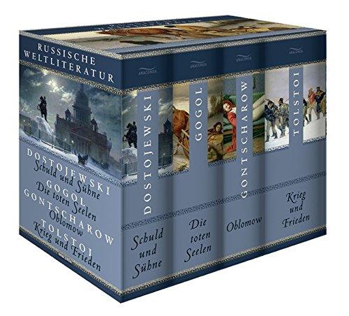 Preisvergleich Produktbild Russische Weltliteratur: Schuld und Sühne - Die toten Seelen - Oblomow - Krieg und Frieden (4 Bände im Schuber)