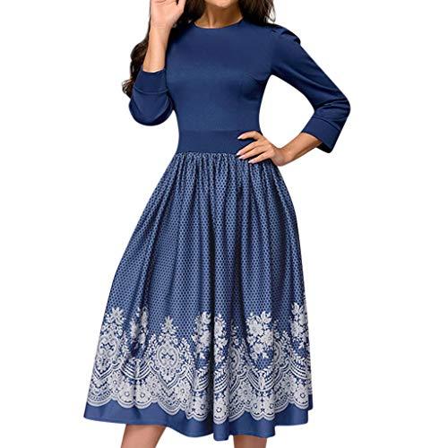(Manadlian Damen Lange Ärmel Kleider Frauen Elegant Eine Linie Jahrgang Partei drucken Vestidos Kleid)