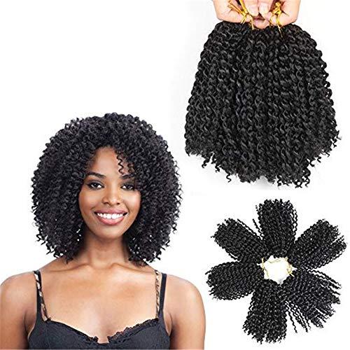 TOUFATIAN Kurz Synthetik Häkeln Haar Kinky Curly Tressen Einschlagfaden Weben Zöpfe Haar Hoch Temperatur Faser Haarverlängerung (6pc 8Inch) - Curly Menschliches Weben