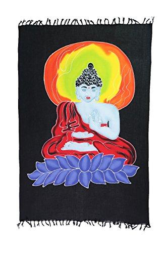 Original Yoga Sarong Pareo Wickelrock Strandtuch Rund ca 170cm x 1110cm Handtuch Schal Kleid Wickeltuch Wickelkleid Buddha - Feng Shui von Hand Bemalt -