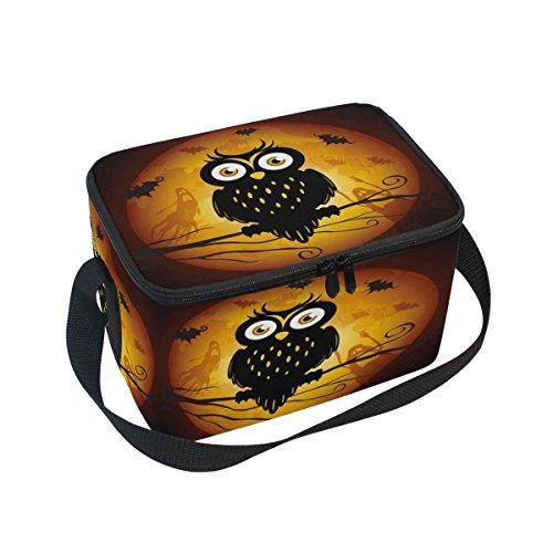 DOSHINE Halloween Tier Eule Baum Isolierte Lunch Box Tasche, Kühler Ice Lunch Tasche Wiederverwendbar für Männer Frauen Erwachsene Kinder Jungen Mädchen
