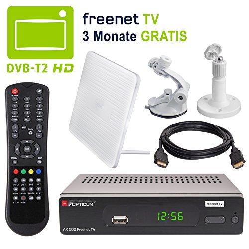 HB DIGITAL DVB-T/T2 SET: Opticum AX500 freenetTV HEVC DVB-T/T2 Receiver AX 500 + Globo Z2 Plus DVB-T/T2, FM, DAB Aktive Antenne (Full HD, HEVC/H.265, HDTV, HDMI, SCART, USB 2.0, LAN Ethernet, SPDIF DVBT DVBT2 DVB-T2 Irdeto Verschlüsselung)