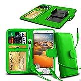 N4U ONLINE - Clip Kunstleder Hülle Tasche & Kopfhörer für Allview E4 Lite - Verschiedene Farben - Grün
