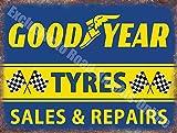 Goodyear Pneus Sales & Réparations Garage Vintage Métal/Panneau Mural Métalique - 20 x 30 cm