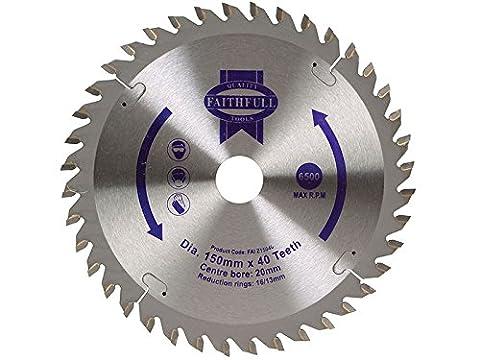 Faithfull Tungsten Carbide Tipped Circular Saw Blade 150 X 20 X 40t
