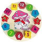 Cervello Gioco Gowsch in Legno Educativo Cartoon Coniglio Forma di Legno di Corrispondenza Orologio Geometrico Forma Blocchi Partita Gioco Bambino Regali Giocattolo - Khaki