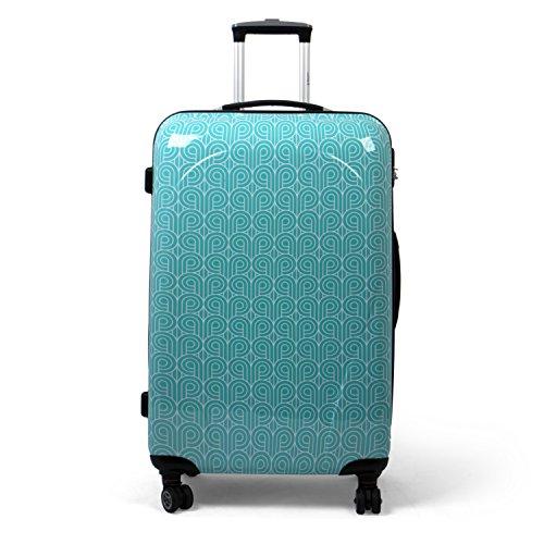 MasterGear Hartschalenkoffer mit Motiv in blau (Petrol), Design Koffer in Größe L, Koffer 4 Rollen (360 Grad), Trolley, Reisekoffer, ABS Koffer Hartschale mit Zahlenschloss …