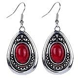 Yazilind vendimia de color plata Red Oval turquesa cuelga gota de los pendientes del gancho Mujeres de regalo