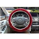 Union Tesco Car Plush Steering Wheel Cover, Winter Warm Super Feeling Furry Plush Vehicle Car Steering Wheel Covers,Wine Red