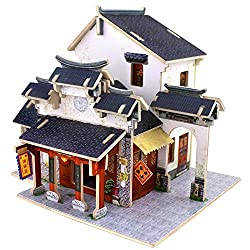 Creative Assemble Puzzle Toys Child Early Education Wooden 3D Puzzle House China Silk Shop