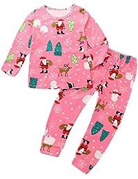 ef6420c2b2d20 Urmagic Ensemble de Pyjama pour Enfants à Renne Filles Père Noël Chemise à Manches  Longues Pantalon