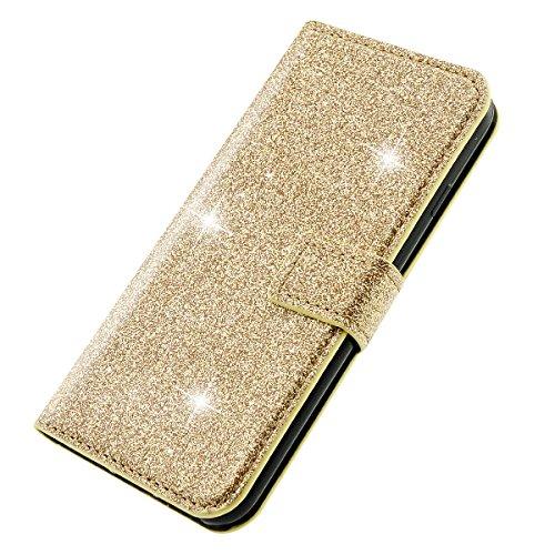 iPhone 6 Plus Hülle, iPhone 6S Plus Lederhülle, Fraelc® Bling Bling Tasche Glitzer Schutzhülle Flip Case mit Standfunktion & Kredit Kartenfächer Handyhülle +1x Eingabestift Pen für iPhone 6 Plus/ iPho Gold