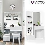 VICCO Schminktisch Gloria Weiß hochglanz Frisierkommode Frisiertisch Spiegel +++ MIT EXTRA GROßEM SPIEGELSCHRANK +++