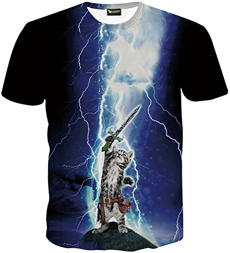 pizoff-unisex-t-shirts-with-3d-digital-printing-cat-flash-sword