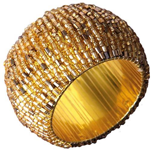 Bestlivgins Glasperlen Serviettenring Ø4cm (Gold Antik)