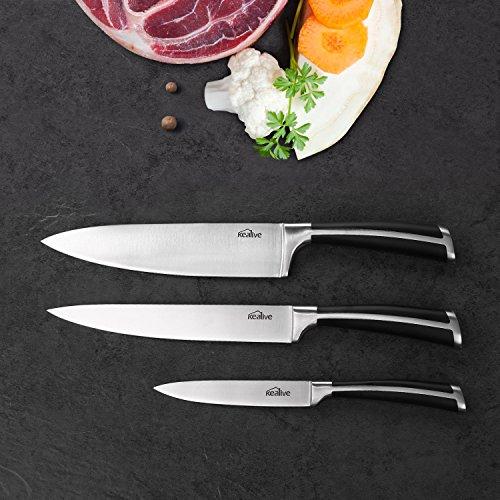 Cuchillos cocina Kealive Cuchillos de Cocinero juego de cuchillos de cocina Tres Piezas de Cuchillos Ergonómicos de Acero Inoxidable con Mango