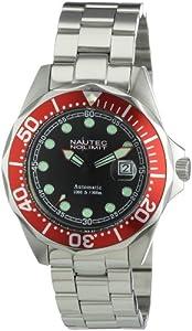 Nautec No Limit Deep Sea Bravo - Reloj analógico de caballero automático con correa de acero inoxidable plateada de Nautec No Limit