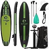 Cotogo Tavola Gonfiabile SUP Professionale Stand Up Paddle Board Tavola da Surf per Adulto con Remo Pompa Pinna Leash Zaino 300x76x15cm Colore Arancio (Verde Intenso)