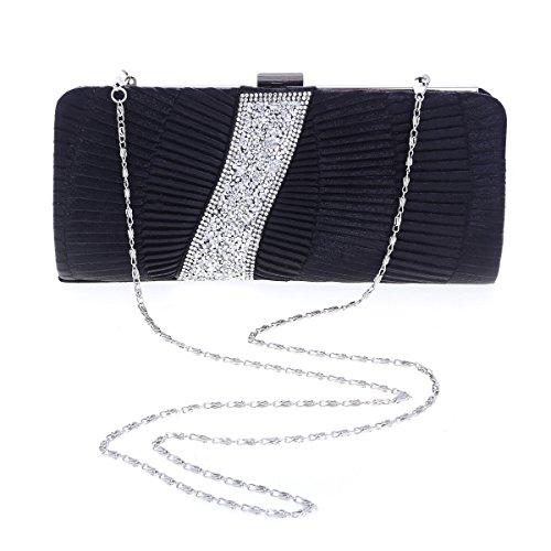 Damara® Damen Glanz Pailletten Strass Abendtasche Mit Falten Silberweiß