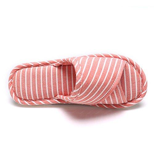 ZHIRONG Printemps Et Automne Hommes Et Femmes Accueil Pantoufles Indoor Non - Slip Couples Four Seasons Soft Bottom Slippers ( Couleur : Gris , taille : 43-44(42-43) ) Rouge