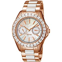 Esprit Dolce Vita Ceramic Women's Quartz Watch with Mother of Pearl Dial Analogue Display and Multicolour Stainless Steel Bracelet ES105772003