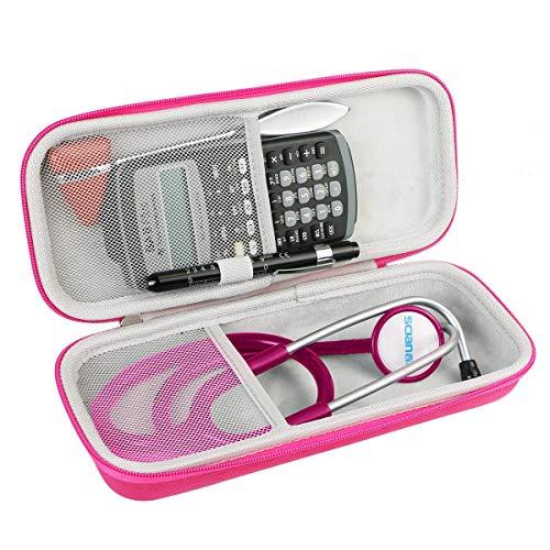 Khanka Stethoskop tasche, für Littmann 2201 3M Classic II S.E./ Doppelschlauch Rappaport Stethoskop/MDF Acoustica luxuriöses, leichtes Zweikopf-Stethoskop. (Rose-Weiß)