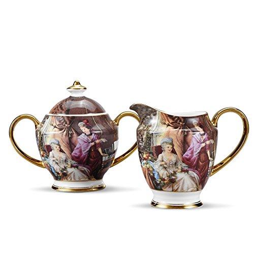 Panbado set 2 pezzi, set di latte e zucchero in porcellana ceramica bone china, lattiere e zuccheriere tazza di tè caffè multi-colore