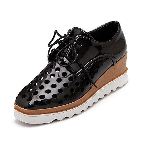 VogueZone009 Femme Lacet à Talon Correct Pu Cuir Carré Chaussures Légeres Noir