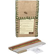 mitti se mitti tak... Recycled Paper Pencils, 4 Seed Pencils and 1 Seed Pen in a Reusable Green Thread Work Jute Pouch -Combo Pack-5