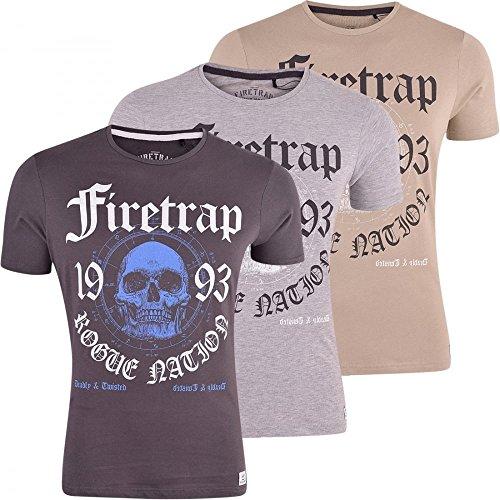 Firetrap Herren Designer Signature Logo Print Shirt Top Kurzarm Beige