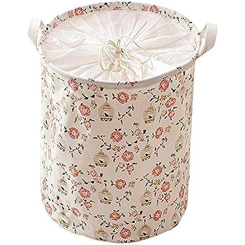 hangnuo Cesto Portabiancheria pieghevole in cotone e lino, giocattoli cestino domestici vestiti Organizer Flowers/Birds