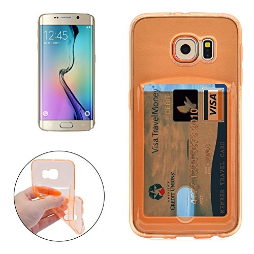 Wkae Case Cover Für Samsung Galaxy S6 Rand / G925 Ultradünner TPU Fall mit Karten-Slot ( Color : Green ) Orange