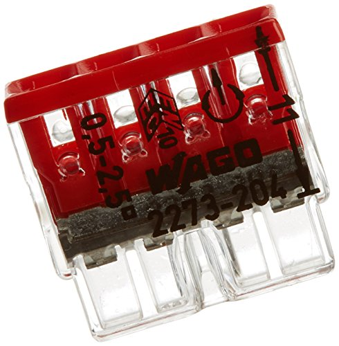 Wago 2273-204 Compact-Dosenklemme 4 x 0.5-2.5 qmm Nr.2273-204 100 Stück, rot