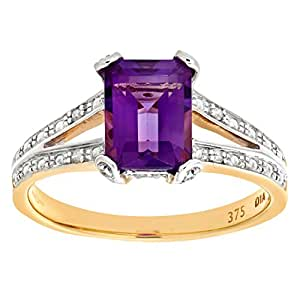 Naava 9 ct Yellow Gold Single-Stone Amethyst with Diamond Set Collette and Shoulders