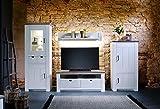 lifestyle4living Wohnwand, Wohnzimmerschrank, Anbauwand, Schrankwand, Fernsehwand, Wohnzimmerschrankwand, Wohnschrank, Massivholz, Kiefer, weiß, Taupe