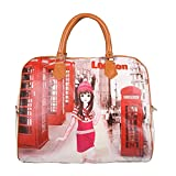 #5: The new cartoon cute hand-held female bag bag waterproof PU leather excursion girls receive luggage bag multi color -Luvina
