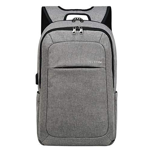SLOTRA Laptop Rucksack 15,6 Zoll Slim Anti Diebstahl Backpack Herren Damen für Business Schule Arbeit