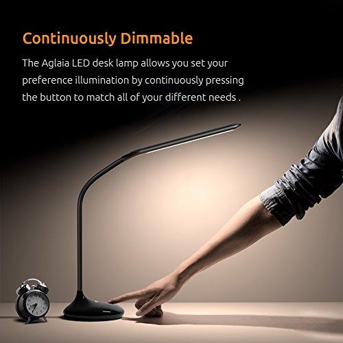 confronta il prezzo Lampada da tavolo a LED 4.5W Lampada da lettura, Aglaia Touch Sensitive Control Dimmerabile Luminosità a 7 livelli Lampade da tavolo per la cura degli occhi, Luci ricaricabili con porta di ricarica USB e collo di cigno pieghevole [Classe energetica A +] miglior prezzo