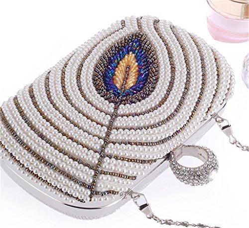 ERGEOB Damen Abendtasche Damen Perle Perlen handgearbeiteten Tasche schwarz 01 weiss