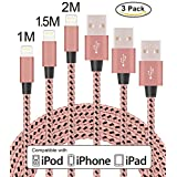Flashstye 3 Pack 1M 1.5M 2M Phone Charger Nylon Braided Lightning to USB Cable Apple lightning cable for iPhone 7 Plus 6S Plus 6 Plus SE 5S 5C 5, iPad 2 3 4 Mini, iPad Pro Air, iPod.(Rose gold & Black )