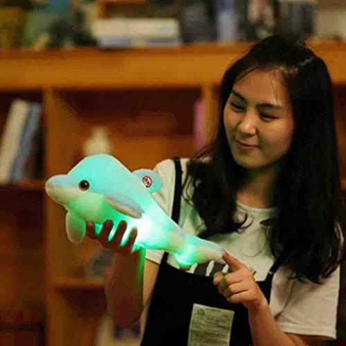 sunnymi Kissen LED 32cm Weihnachten Plüsch-Kinder Pad Leuchtendes Glühende Pillow Füllung Licht Weiches Cushion Geschenk-Zuhause Design Concept Home Party Dekoration (Delphin, blau)