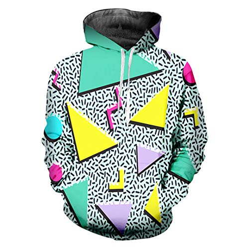 A-WORKDES Lose Geometrische 3D Printed Triangle Hiphop GroßE GrößE KostüM Unisex Winter Hoodies Triangle M