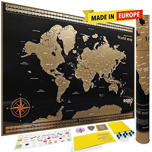 Premium Extra Groß 82,5x 59,4cm abkratzen Karte der Welt für Reisende | Staaten vorgezeichnet für USA, Kanada etc. | Land Flaggen | Beste Qualität Papier | die meisten Lebhafte Farben von robomap