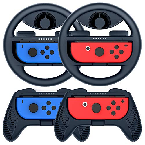 COODIO Switch Joy-Con Lenkrad und Griff, Joy-Con-Lenkrad-Adapter, Joy-Con Griff Hülle für Mario Kart Game / Nintendo Switch Joy-Con Controller, Dunkelblau (Deluxe 4 Stück)