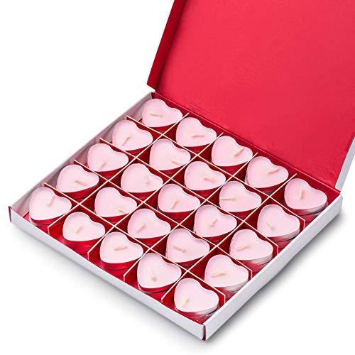 Kaiercat Teelichter, Herz Kerzen & Rauchfreie Dekokerzen für Hochzeit, Geburtstag, Party, Halloween, Weihnachten, Festivals (Rosa)