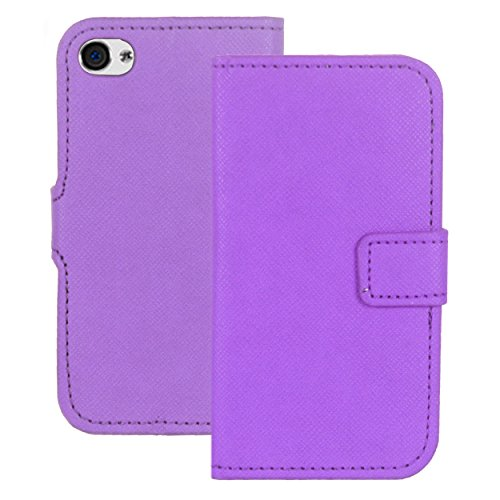 Heartly Premium Luxury Check Pattern PU Leather Flip Bumper Back Case Cover For Apple iPhone 4 4S 4G - Purple  available at amazon for Rs.199