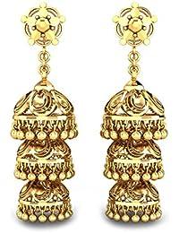 Candere By Kalyan Jewellers 18KT Yellow Gold Jhumki Earrings for Women