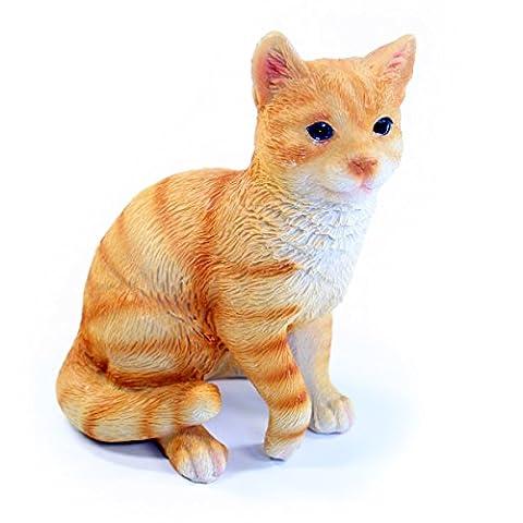Orange Cat Figurine Ornament–Resin Tiger Cat indoor or outdoor, 10cm x 8cm x 13cm