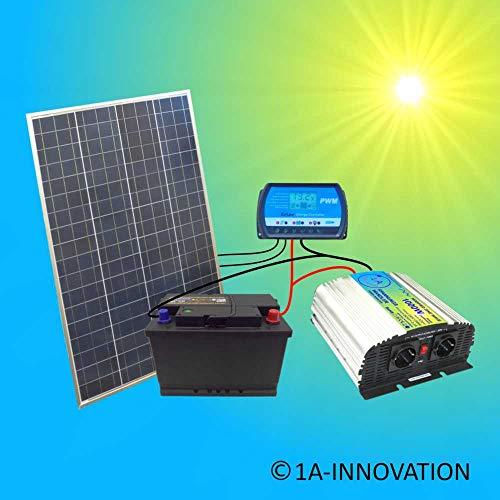Komplette 220V Solaranlage Poly TÜV Akku 100W Solarmodul 1000W Spannungswandler Gartenhaus NEU Solar Garten Set Camping Wohnmobil Inselsystem