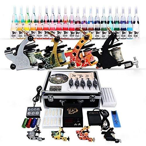 RANZIX Tätowierung Komplett Tattoo Kit Set 4 Tattoomaschine 40 inks 50 Nadeln + Koffer Hunter Green Cord